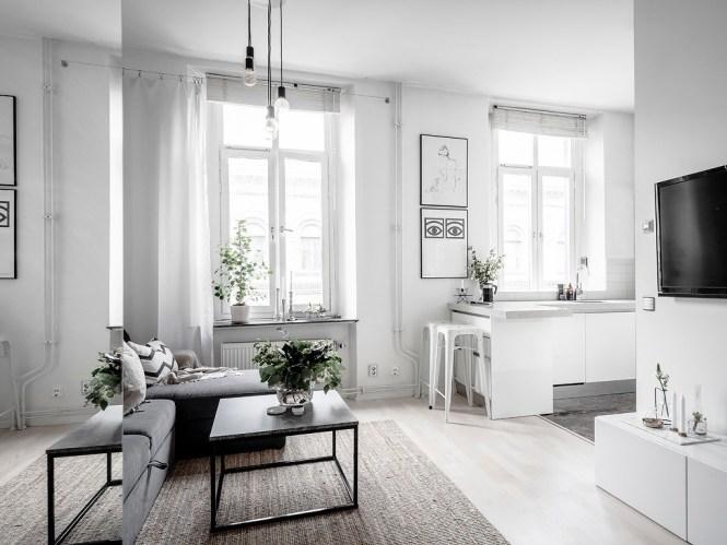 mini pisos decoración distribución sin paredes distribución abierta decoración pisos muy pequeños decoración escandinava