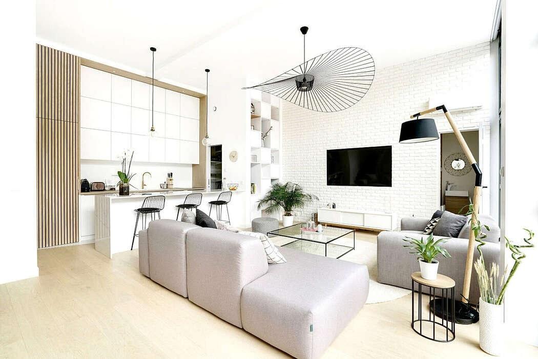 vivienda francesa pared de ladrillo blanco pared de cristal a la calle muebles a medida loft en paris loft estilo moderno estilo contemporáneo