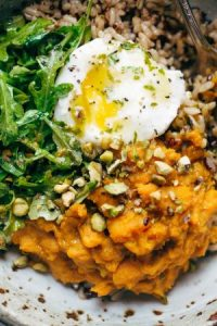 tumeric and mashed sweet potatoes