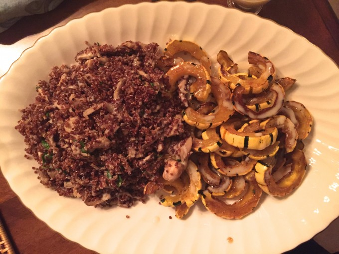 Wild Mushrooms, Red Quinoa & Delicata Squash come together in this Amazing Side Dish!