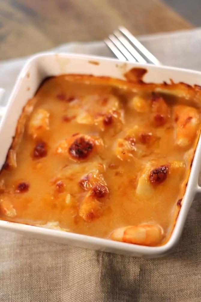 Gratin de crevettes sauce Aurore