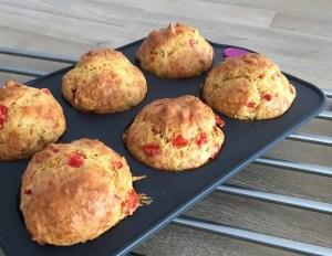 Muffins salés aux poivrons et et jambon cru