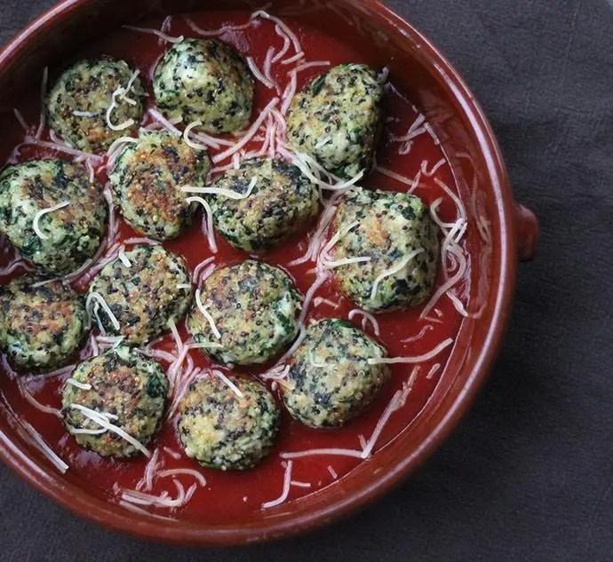 Boulettes de poulet, quinoa et épinard