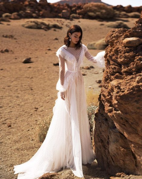 A-line wedding dress Addi with long lace sleeves from the Dream Ocean Collection