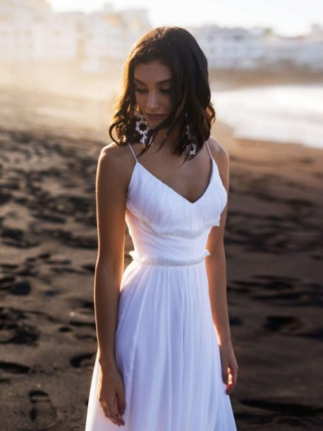 Lymi wedding gown with spaghetti straps from the Dream Ocean Collection