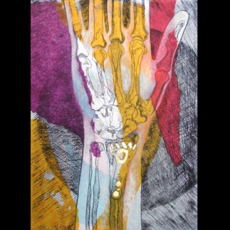 Wrist II, 2014 Drypoint Etching on collage with Gold leaf