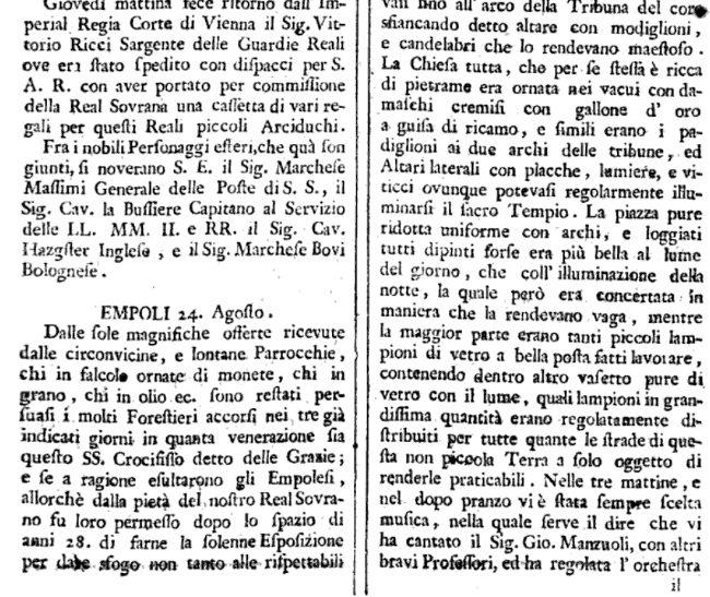 Empoli Faceva Il Palio Nel 24 Agosto 1776 – Di Carlo Pagliai