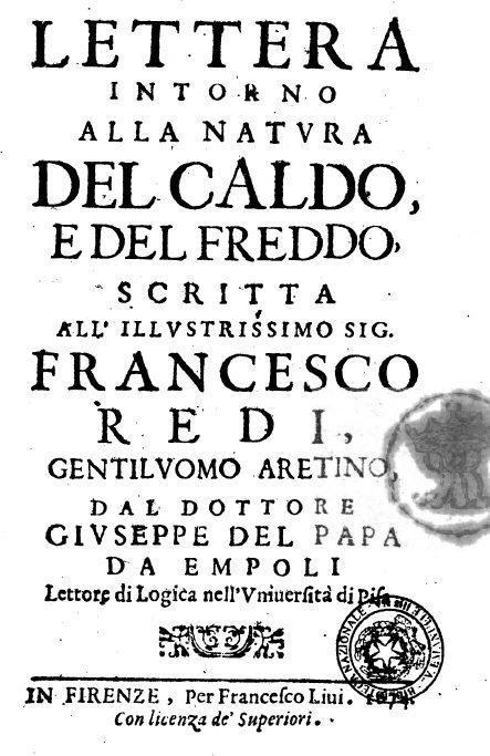 Lettera Intorno Alla Natura Del Caldo, E Del Freddo – Giuseppe Del Papa, 1674