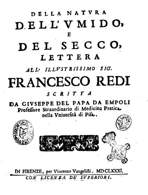 Della Natura Dell'umido E Del Secco – Giuseppe Del Papa, 1681
