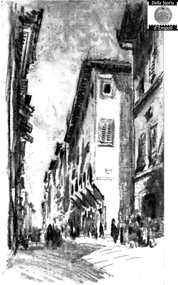 Via Del Giglio Nel 1904, Incrocio Con Via San Francesco, Dipinto A Carboncino