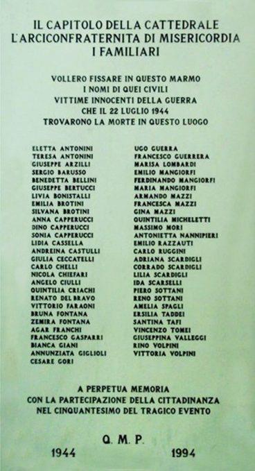 L'epigrafe commemorativa all'interno della Cattedrale Foto di Giuseppe Chelli