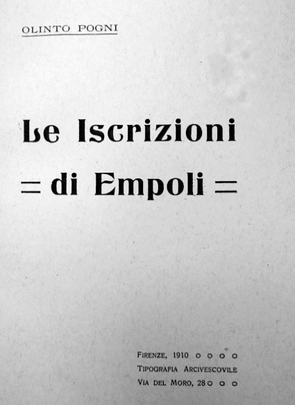 Le Iscrizioni Di Empoli – Olinto Pogni, 1910 – Ebook