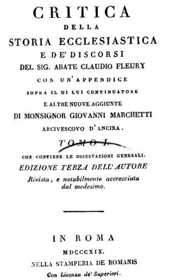 critica della storia ecclesiastica e de' discorsi del sig. abate claudio fleury 1819 tomo I