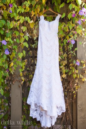 wedding dress hanging at temecula creek inn