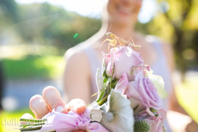 a grasshopper on the birdesmaids bouquet
