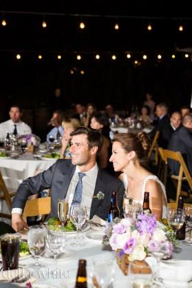 enjoying their wedding reception in the evening