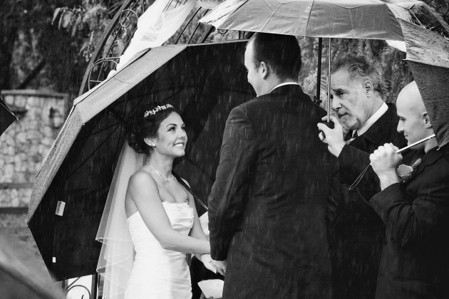 exchanging vows in the rain