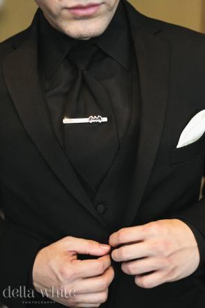 grooms batman tie clip