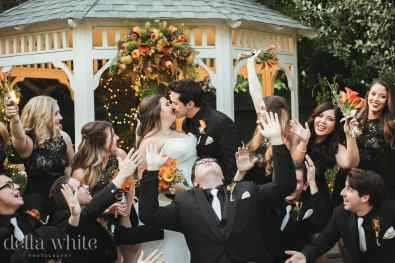 wedding party in front of the gazebo
