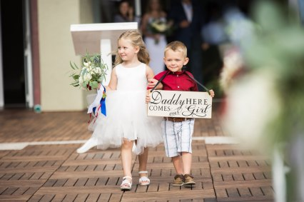 daddy, here comes our girl sign