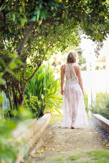 outdoor boudoir session in beautiful gown robe