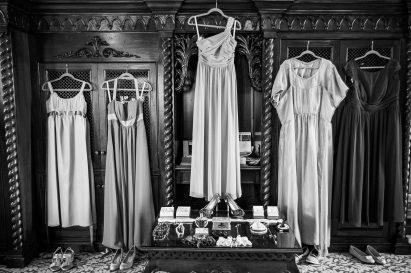 bridesmaids dresses hanging