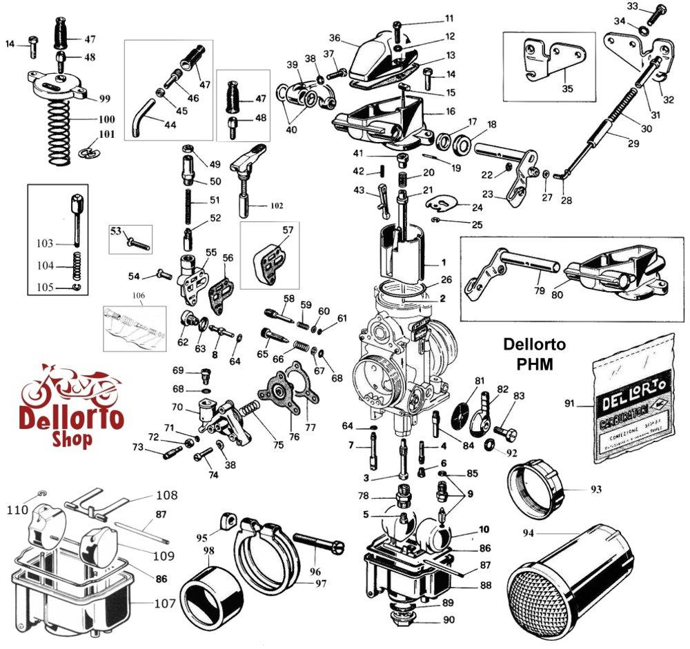 Dellorto PHM Carburetor Parts