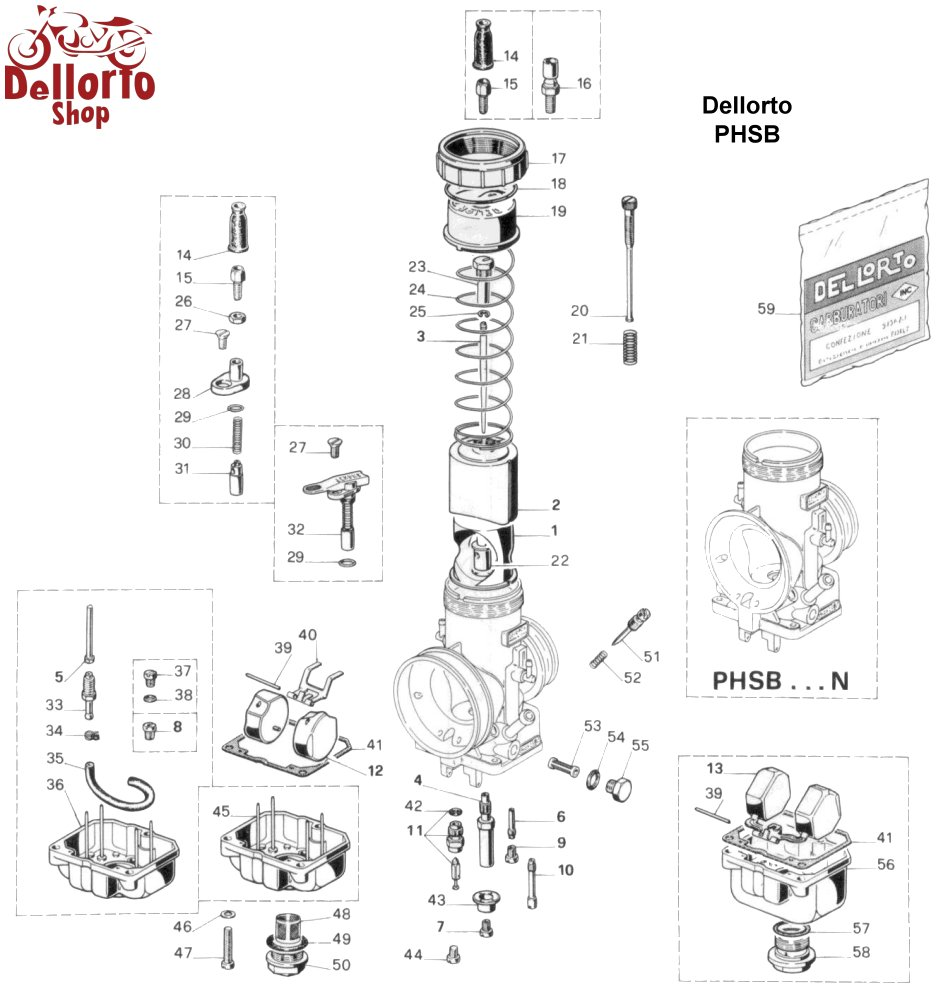 Dellorto PHSB Carburetor Parts