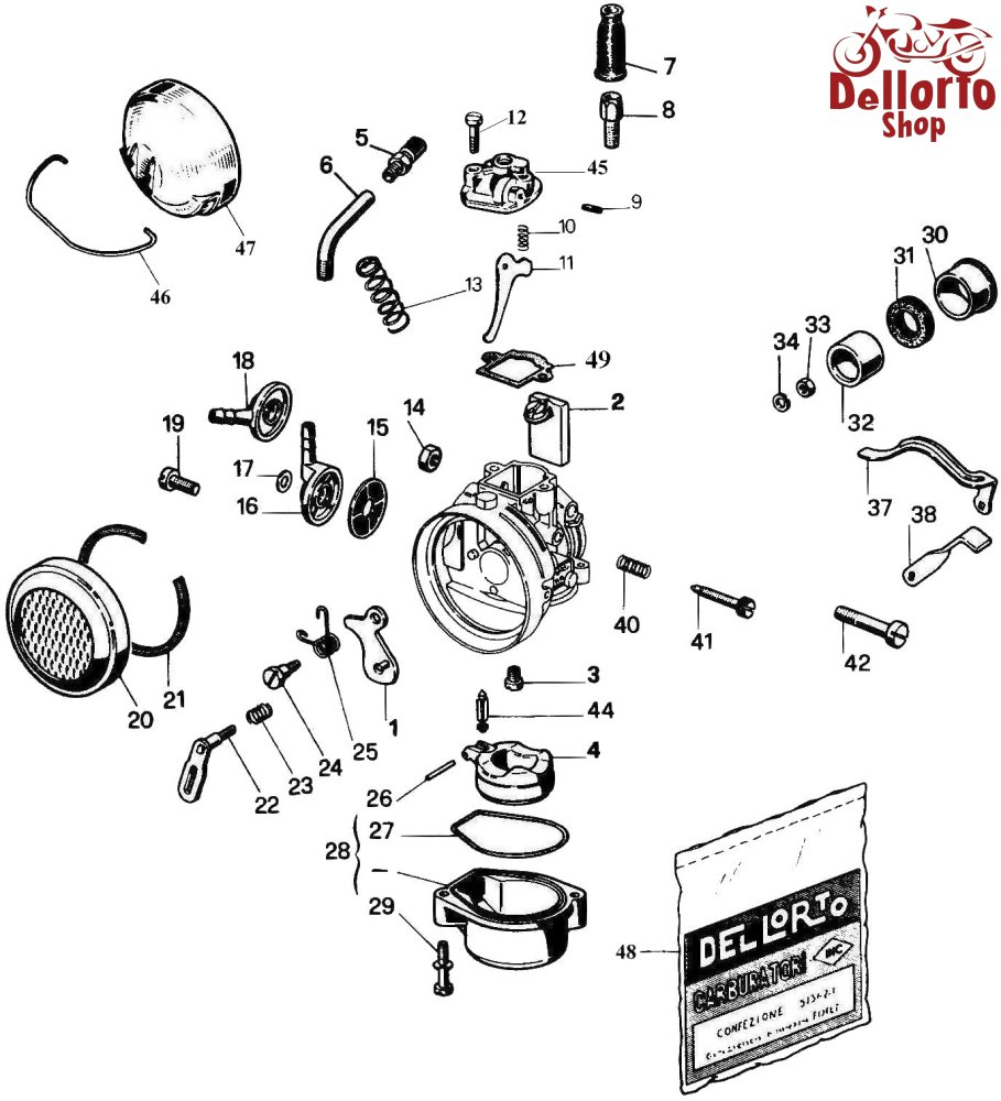 Dellorto SHA14, SHA15 and SHA16 Carburetor Parts