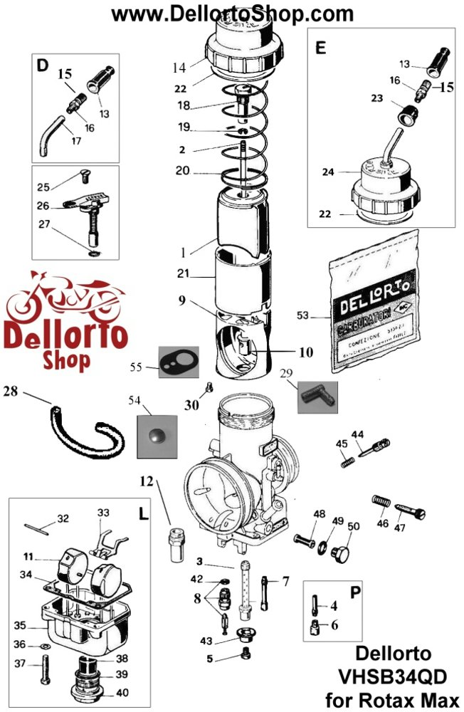 Carburettor Spare Parts Jets And Service Kits Dellorto