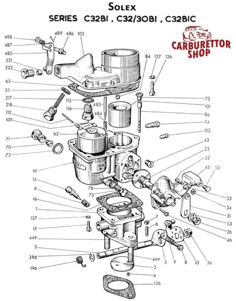 Solex C32 BIC carburetor Parts