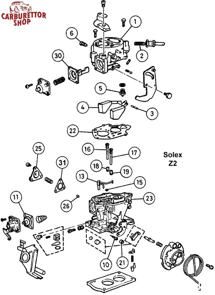Solex Z2 Carburetor Parts and Service Kits