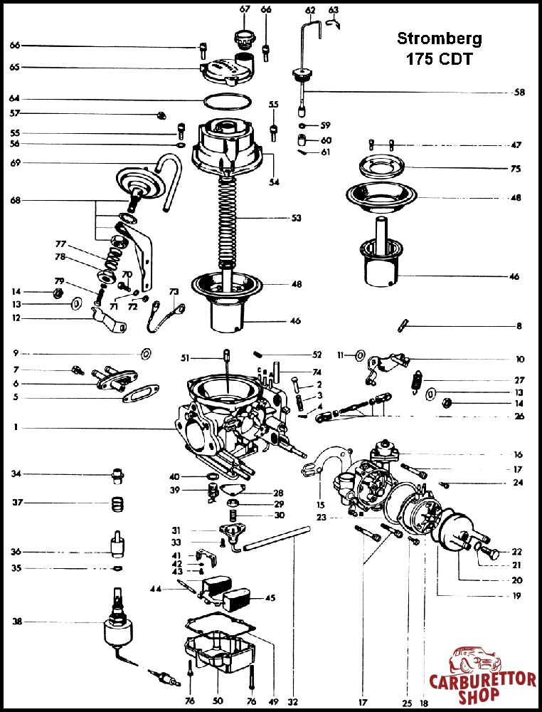 Stromberg 175TCDT Carburetor Parts and Rebuild Kits
