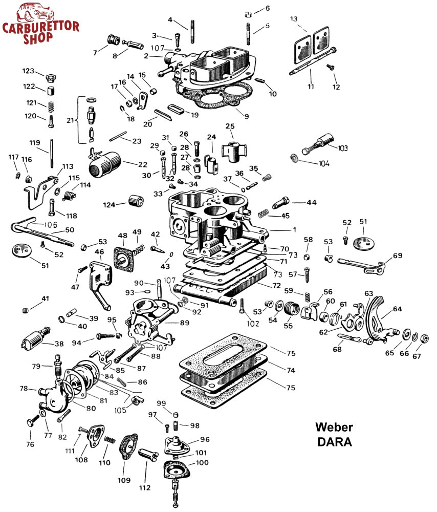 Weber DARA Carburetor Parts