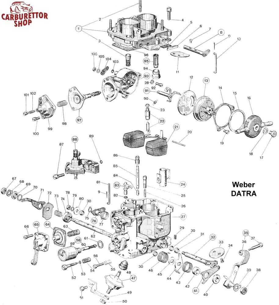 Weber DATRA carburetor parts