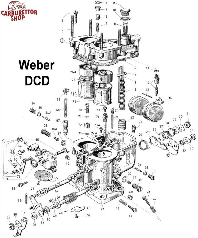 Weber DCB Carburetor Parts