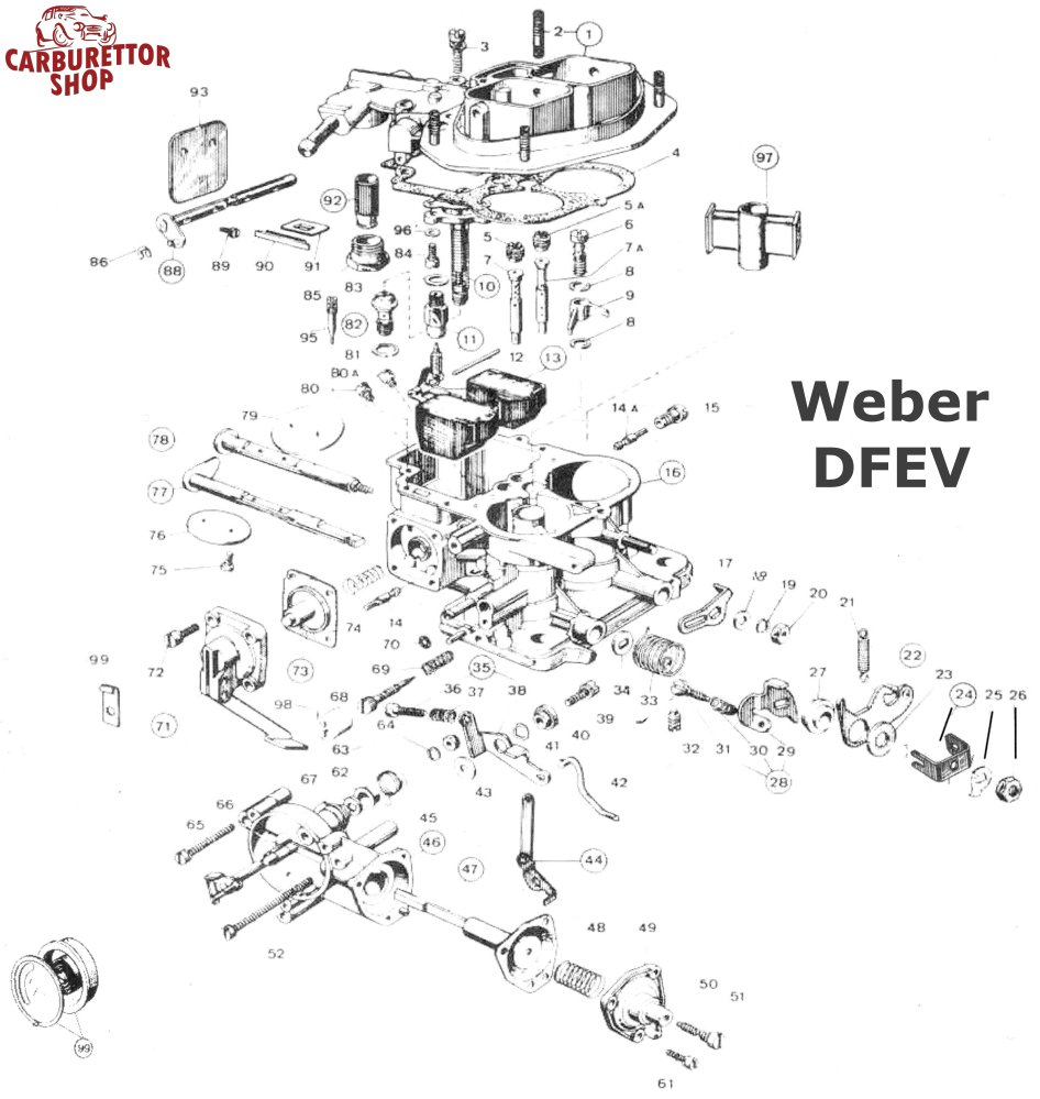 Weber DFEV Carburetor Parts