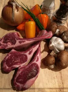 Lamp Chops & Veggies (before)
