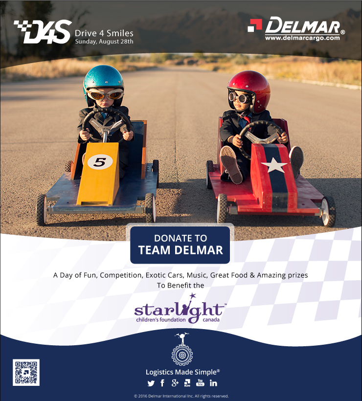 Drive 4 Smiles - 2016 - Aug 28th, Sponsor Team Delmar -http://d4scanada.com/participant/325109