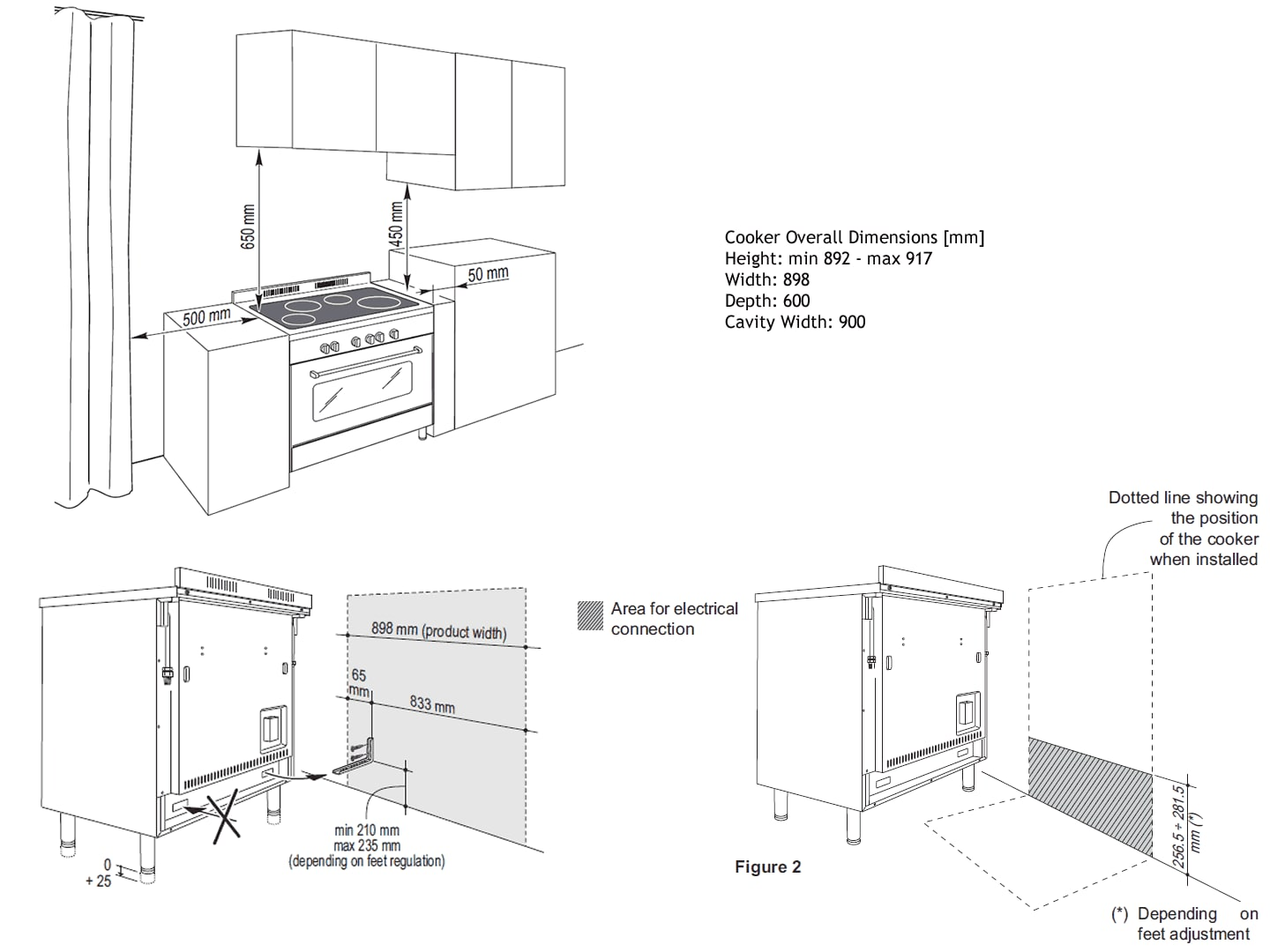 hight resolution of freestanding oven with induction cooktop 90cm def909ind installation diagram