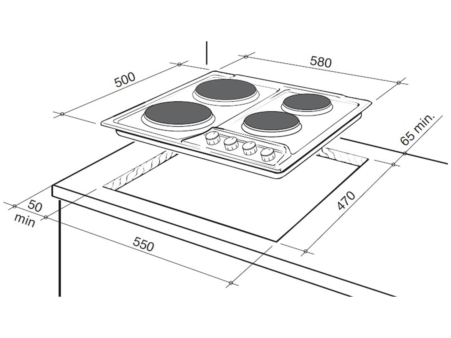60cm 4 Zone Electric Cooktop Deh60sx1