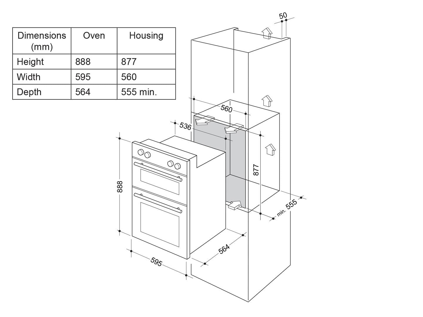 hight resolution of delonghi 60cm multi function double wall oven del6038d installation diagram