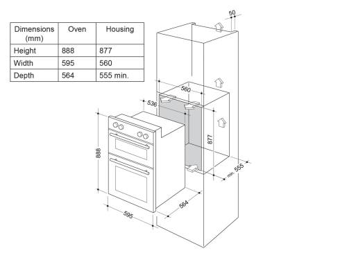 small resolution of delonghi 60cm multi function double wall oven del6038d installation diagram