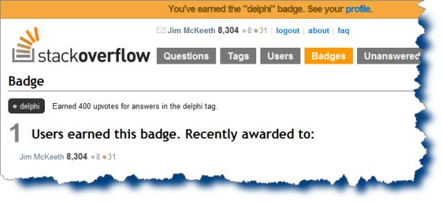 Stack Overflow's Delphi badge