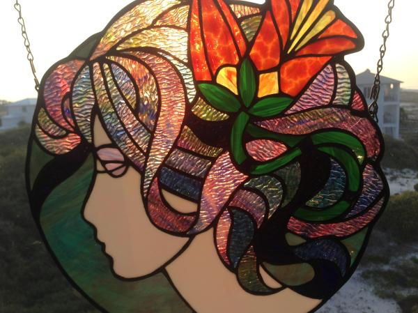 Art Deco Stained Glass Pattern Lady