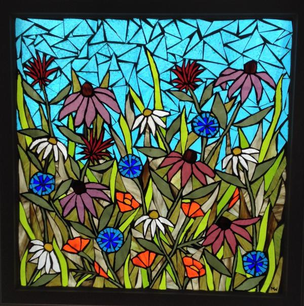 Flower Garden Stained Glass Mosaic Panel - Delphi Artist