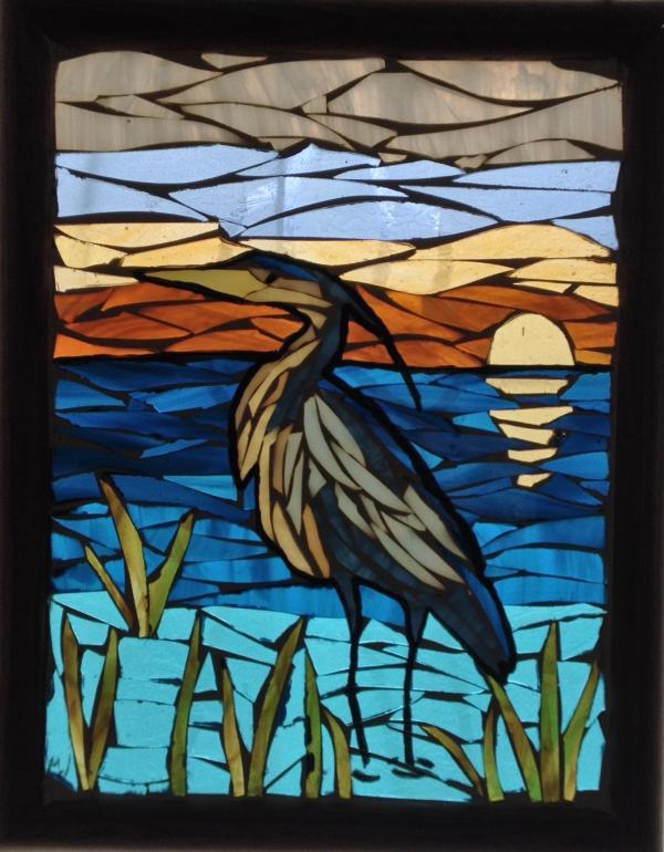 Blue Heron Sunset Stained Glass Mosaic Panel - Delphi