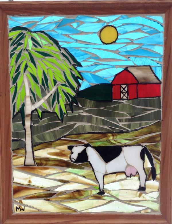 Dairy Farm Stained Glass Mosaic Panel - Delphi Artist