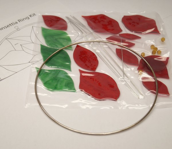 Pre-cut Poinsettia Ring Kit Stained Glass Christmas Supplies