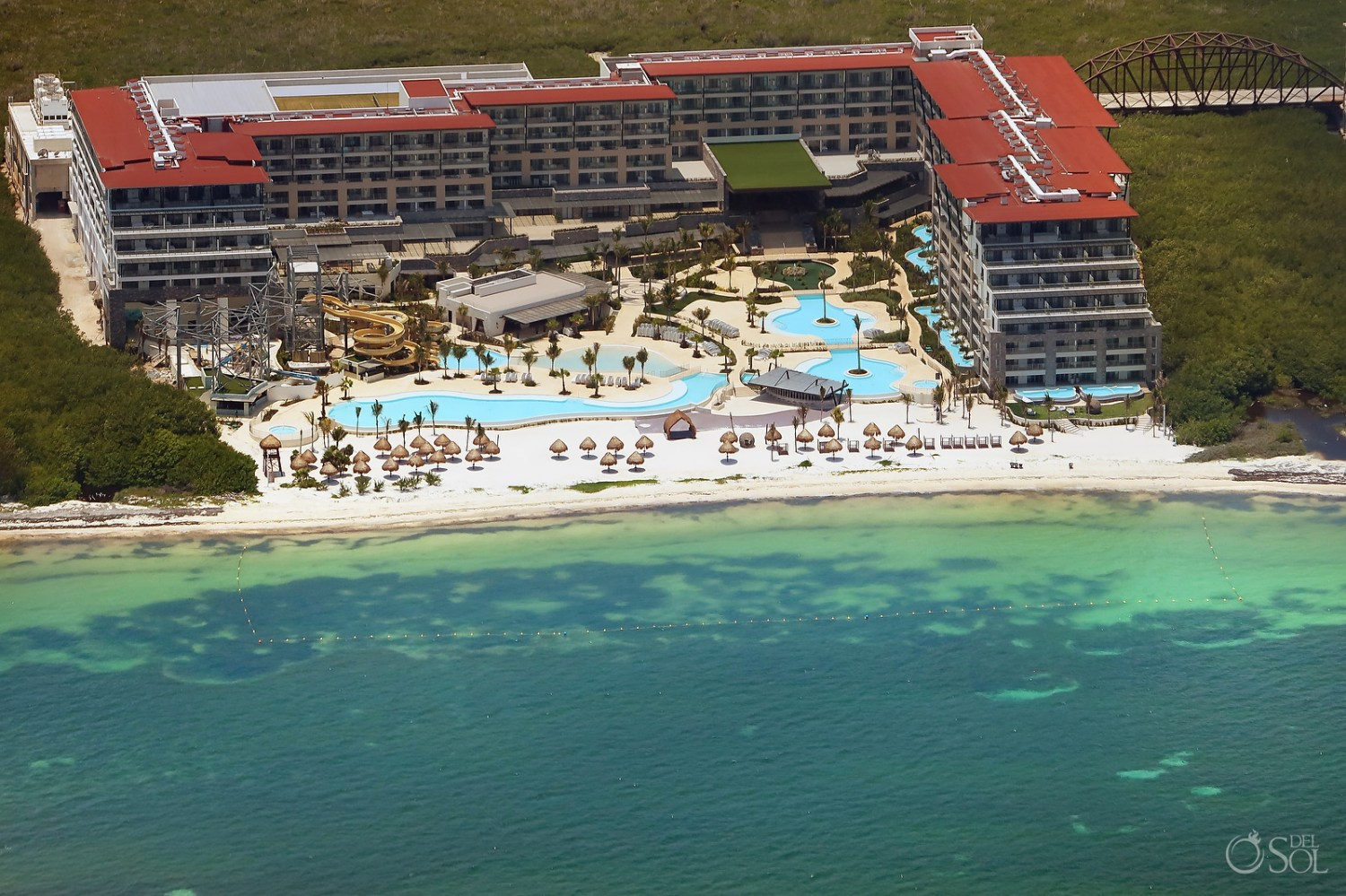 Aerial photo of Now Dreams Natura Cancun showing newly finished beach